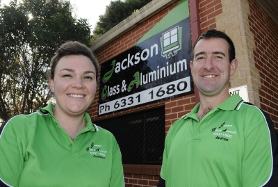 Candice & Andrew Falconer at Jackson Glass & Aluminium. Photo: CHRIS SEABROOK 072613cjacksn2